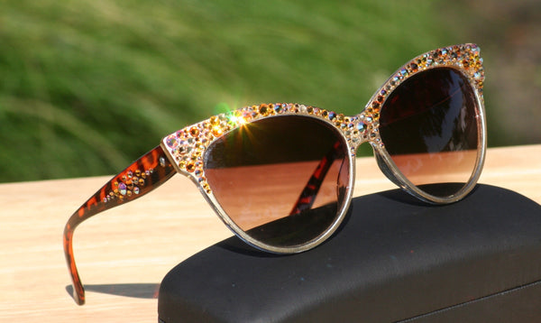 Elegant Cat Style Sunglasses, Topaz Crystals on Gold Burnished Frames