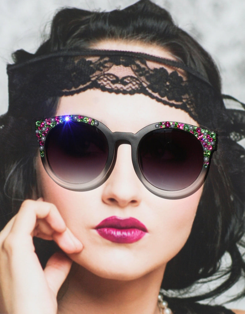Black Round Sunglasses with Pearls and Pastel Pink and Green Crystals for Women, Matte Black Sunglasses - Sunglass Shenanigans