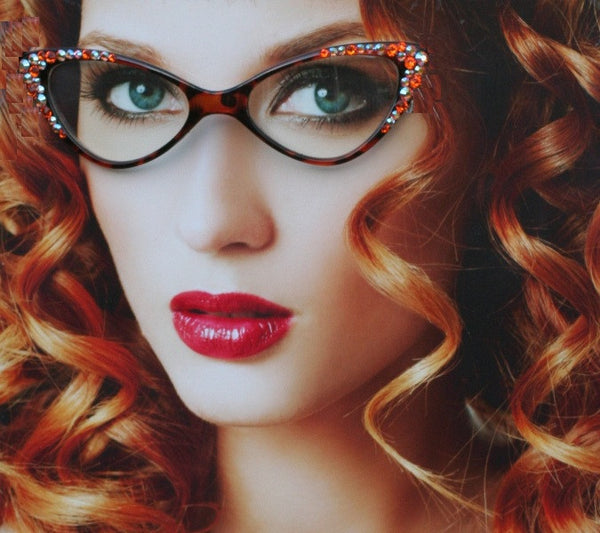 Cat Style Willow eyewear frames with Tangerine Swarovski Crystals - Sunglass Shenanigans