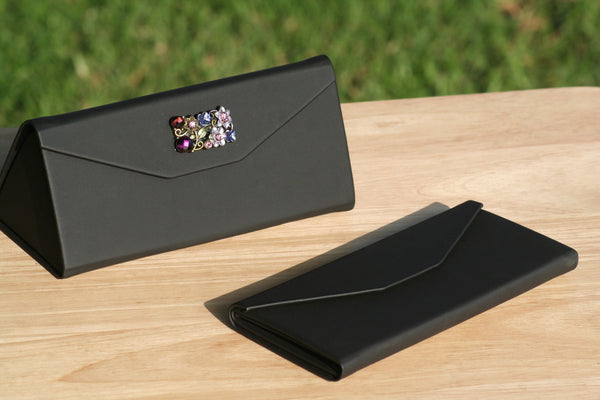 Protective Hard Case for Eyewear - Amethyst Floral Embellishments, Handheld Mini Purse, Evening purse - Sunglass Shenanigans