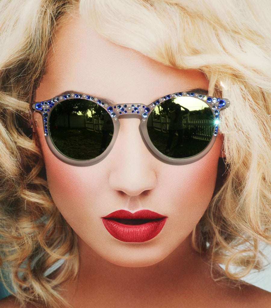Round Blue and Pearl Hippie Mirrored Sunglasses - Sunglass Shenanigans