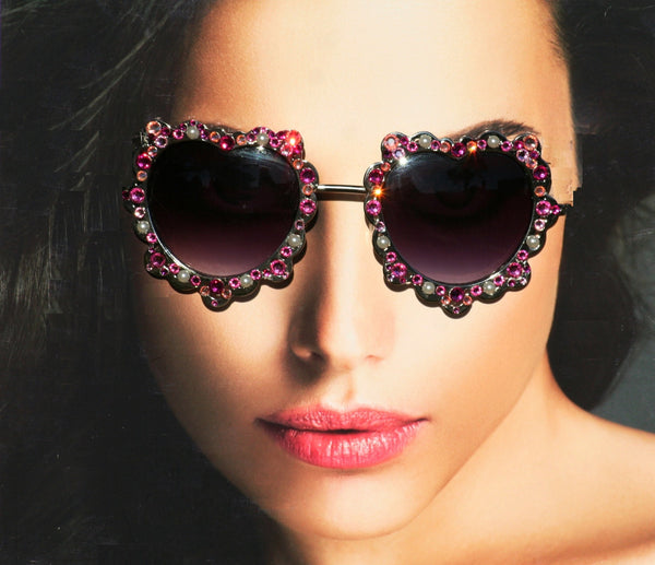 Heart Shaped Pink Hippie Sunglasses - Sunglass Shenanigans