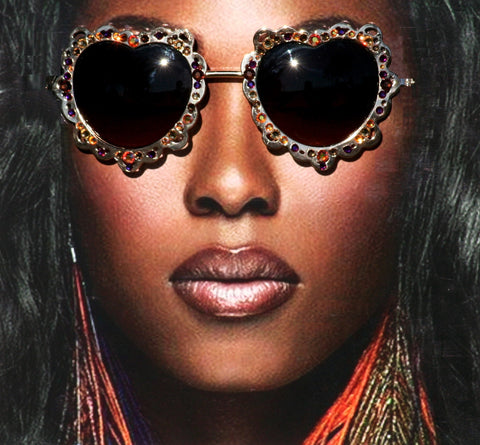 Heart Shaped Brown Crystal Hippie Sunglasses on Gold Metal Frames