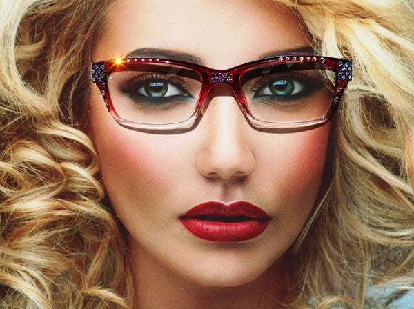 Patriotic Reader Style Glasses - Red, White and Blue Eyewear