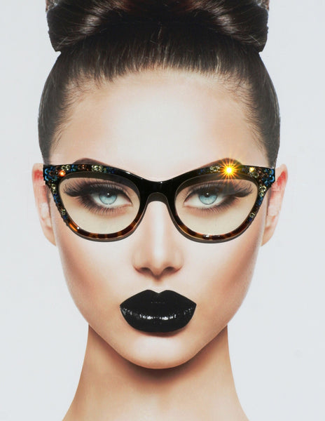 Black and Tortoise Cateye Hipster Bling Eyewear - Sunglass Shenanigans