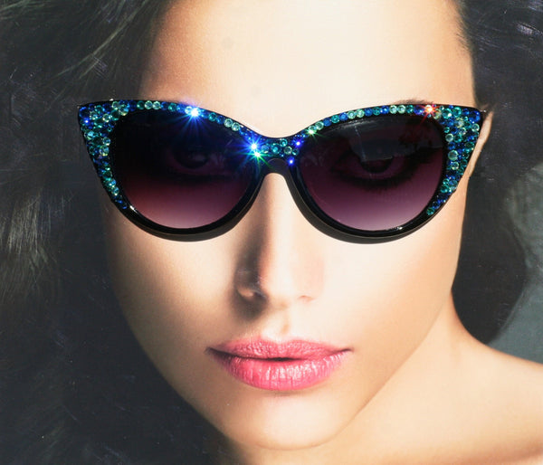 RESERVED FOR DORIS LEW - Black Cat Style Sunglasses with Mediterranean Blue Swarovski Crystals