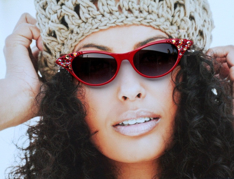 Sunglasses - Red Cat Style Eyewear, Ruby & Topaz Crystals, Retro, Vintage Style Eye wear - Sunglass Shenanigans