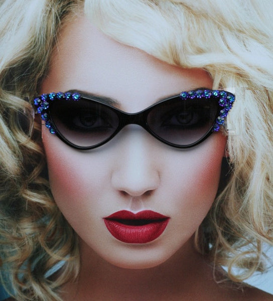 Retro Cat Eyes Sunglasses with Violet Cubic Z Crystal Flowers - Sunglass Shenanigans