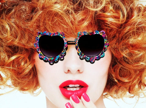 Hand Painted Heart Shaped Sunglasses, Painter's Pallete Hippie Sunglasses - Sunglass Shenanigans