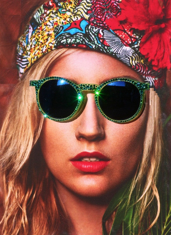 Round Hippie Sunglasses, Mirrored Sunglasses, Green Sunglasses, Round Mirrored Sunglasses - Sunglass Shenanigans