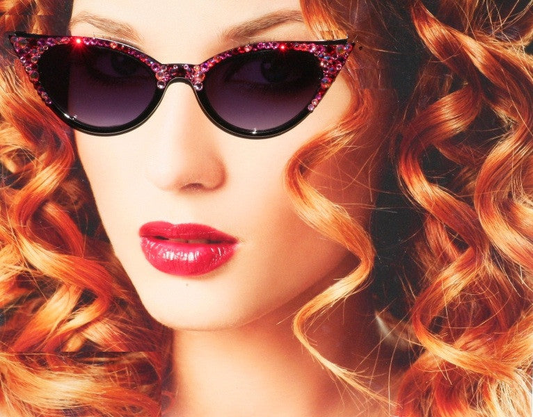 Garnet Colored Cateye Sunglasses with Rose and Garnet Swarovski Crystals - Sunglass Shenanigans