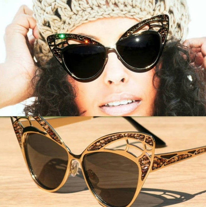 Brown Crystal Cat Style Sunglasses on Gold frames, Topaz Crystal Cateye Sunglasses, Wild Cat Style Sunglasses - Sunglass Shenanigans