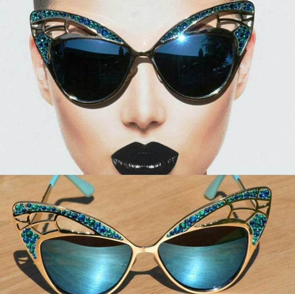 Blue Cat Style Sunglasses on Gold Frames, Blue Crystal Cateye Sunglasses, Wild Cat Style Sunglasses - Sunglass Shenanigans