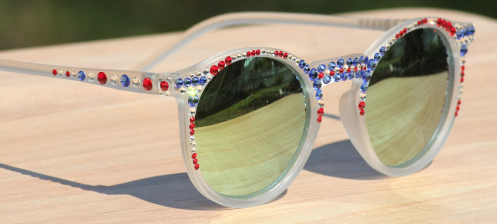 Round Patriotic Sunglasses, Mirrored Sunglasses, Frosted White Round Mirrored Sunglasses - Sunglass Shenanigans