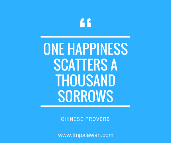 Happiness scatters sorrows away