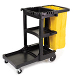 RUBBERMAID - JANITOR CART W/ ZIPPERED YEL VINYL BAG, BLACK