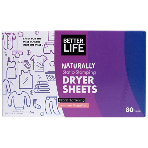 DRYER SHEETS FABRIC SOFTENING, Lavender & Grapefruit, 80 sheets - Eco Friendly Cleaning Products