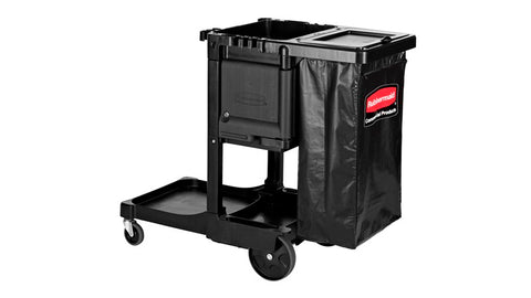 RUBBERMAID - EXECUTIVE SERIES STANDARD JANITOR CLEANING CART, BLACK