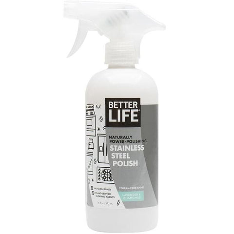 STAINLESS STEEL POLISH STREAK FREE, Lavender & Chamomile, 16oz/ 473ml - Eco Friendly Cleaning Products