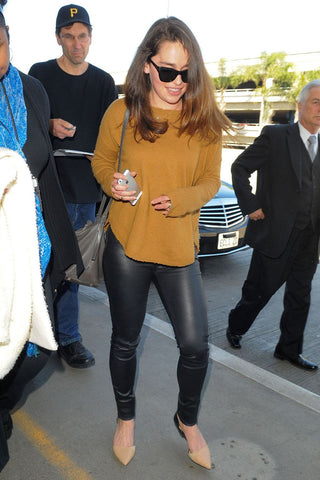 Emilia Clarke Leather Leggings