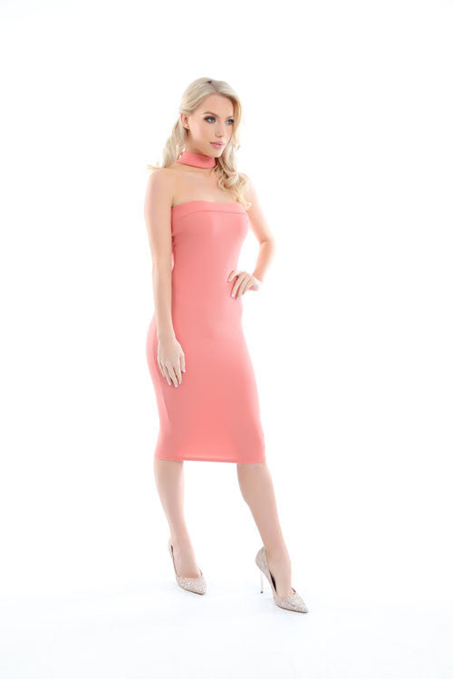 Jessie Pink Choker Neck Detail Bandeau Midi Dress - PrettyFashion.com