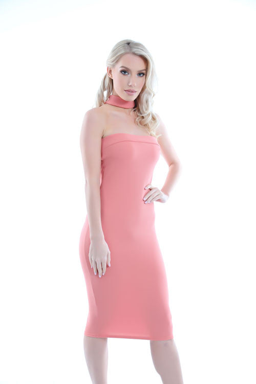 Jessie Pink Choker Neck Detail Bandeau Midi Dress 2 - PrettyFashion.com