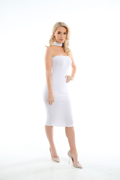 Jessie White Neck Detail Bandeau Midi Dress - PrettyFashion.com