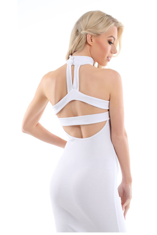 Jessie White Neck Detail Bandeau Midi Dress 3 - PrettyFashion.com