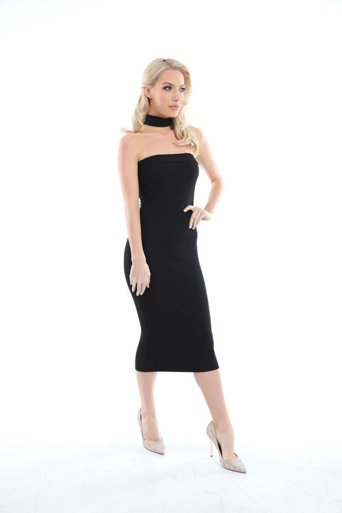 Jessie Black Choker Neck Detail Bandeau Midi Dress - PrettyFashion.com