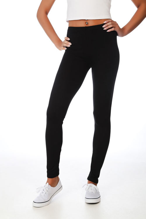 Black Basic Plain Jersey Leggings - PrettyFashion.com
