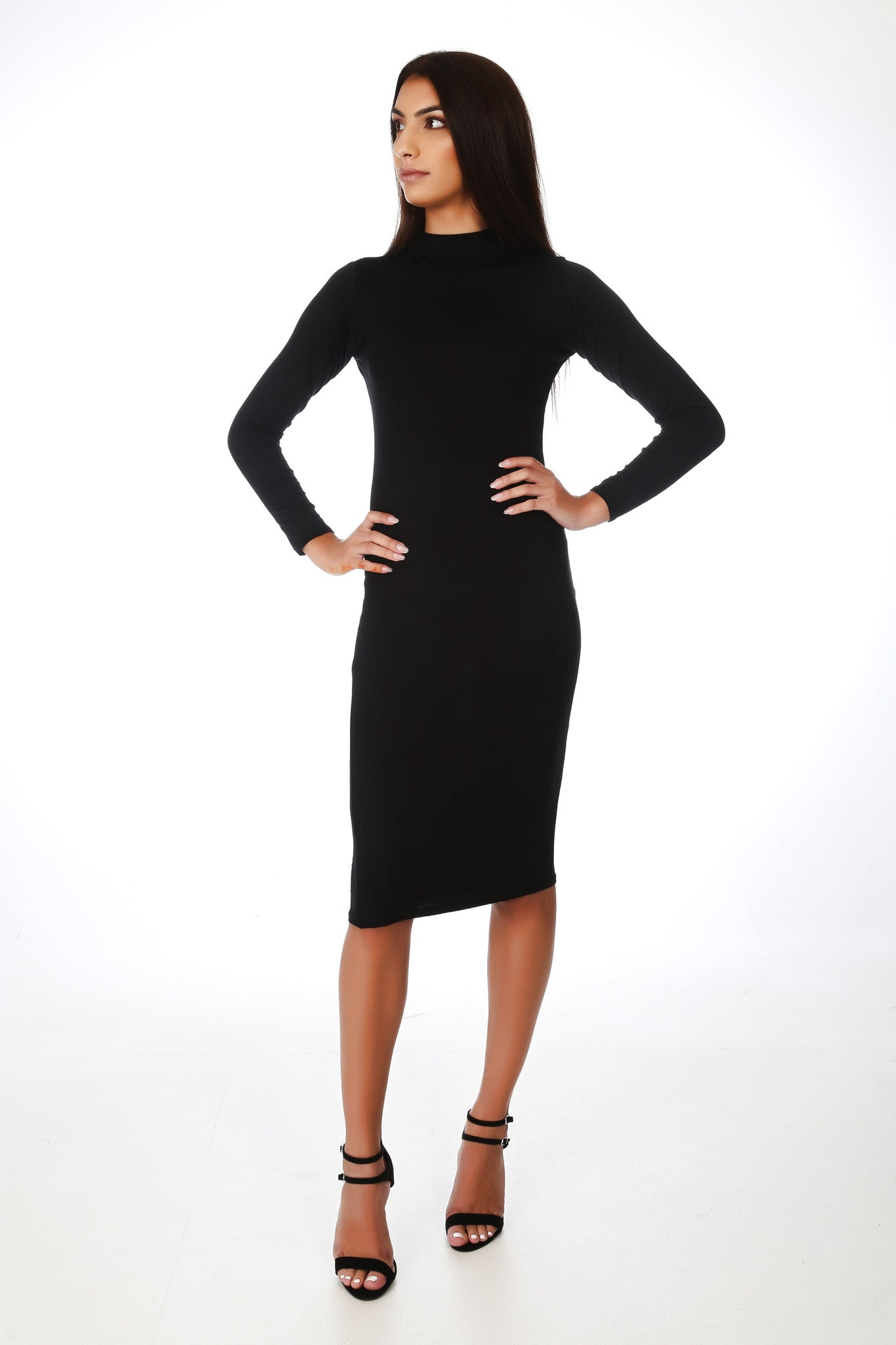 Black Turtleneck Fullsleeve Midi Dress