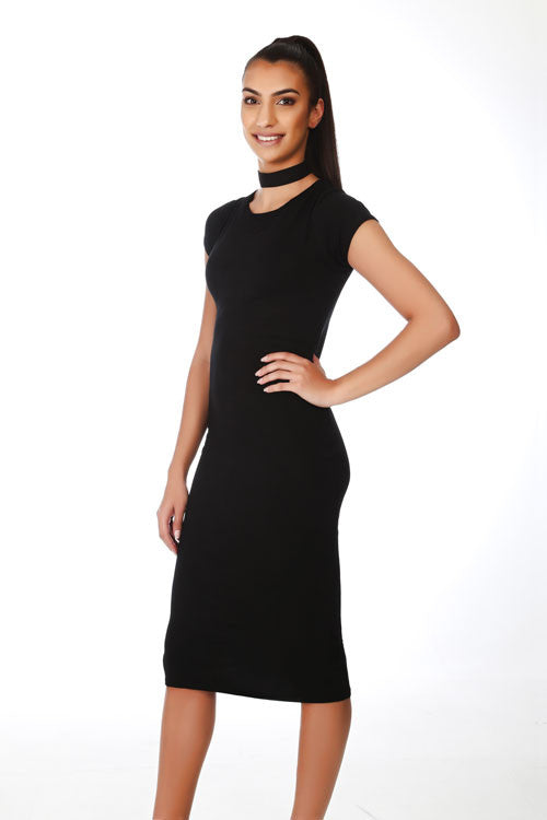 Black Cap Sleeve Midi Dress - PrettyFashion.com