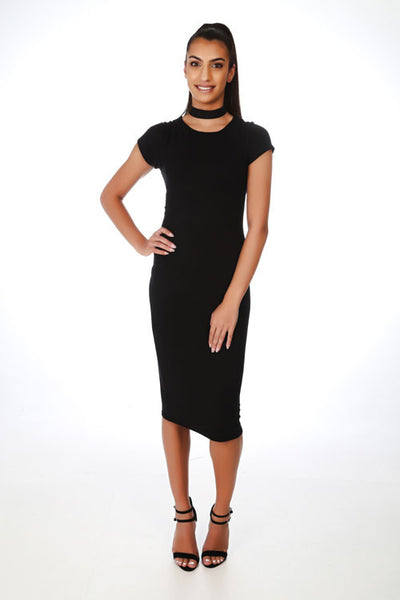 Basic Black Jersey Midi Dress