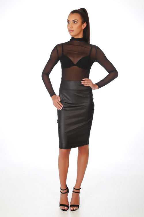 Black Faux Leather Wetlook Midi Pencil Skirt - PrettyFashion.com