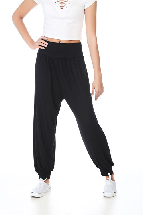 Black Ali Baba Harem Trousers - PrettyFashion.com