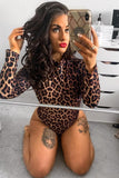 Leopard Print High Neck Bodysuit