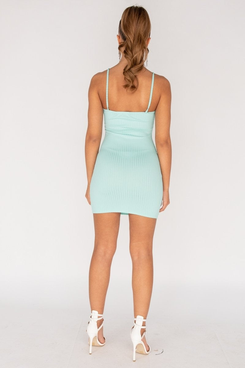 Mint Rib Knit Cami Mini Dress