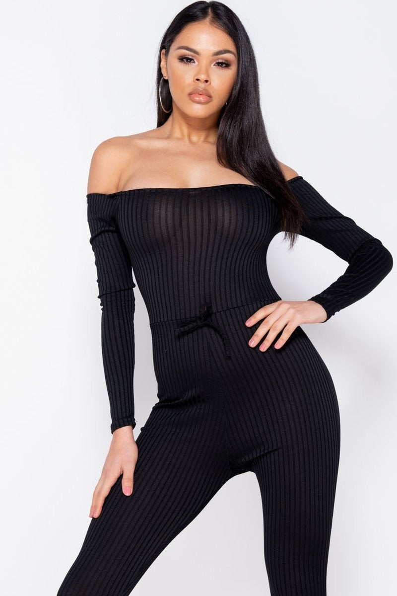 Black Rib Knit Long Sleeve Bardot Jumpsuit