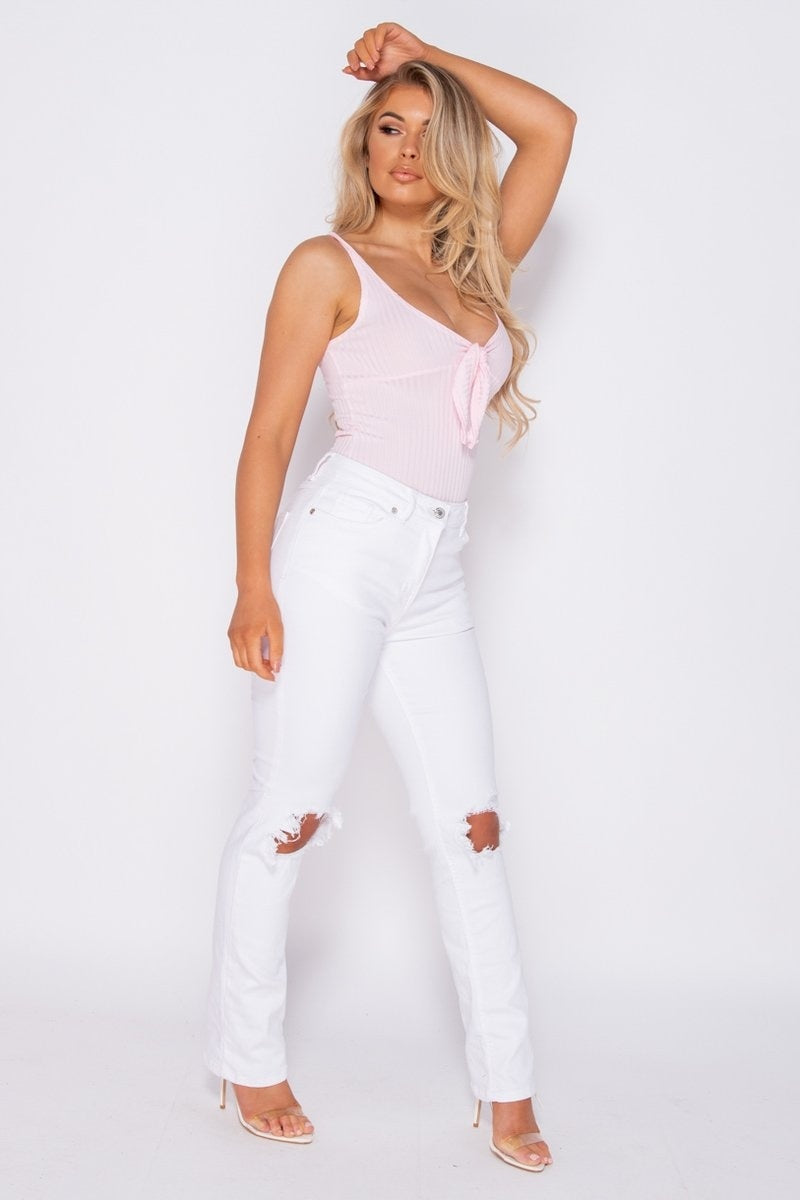 Pink Tie Front Rib Knit Bodysuit