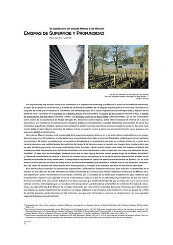 Ensayo por William J.R. Curtis sobre Herzog & de Meuron