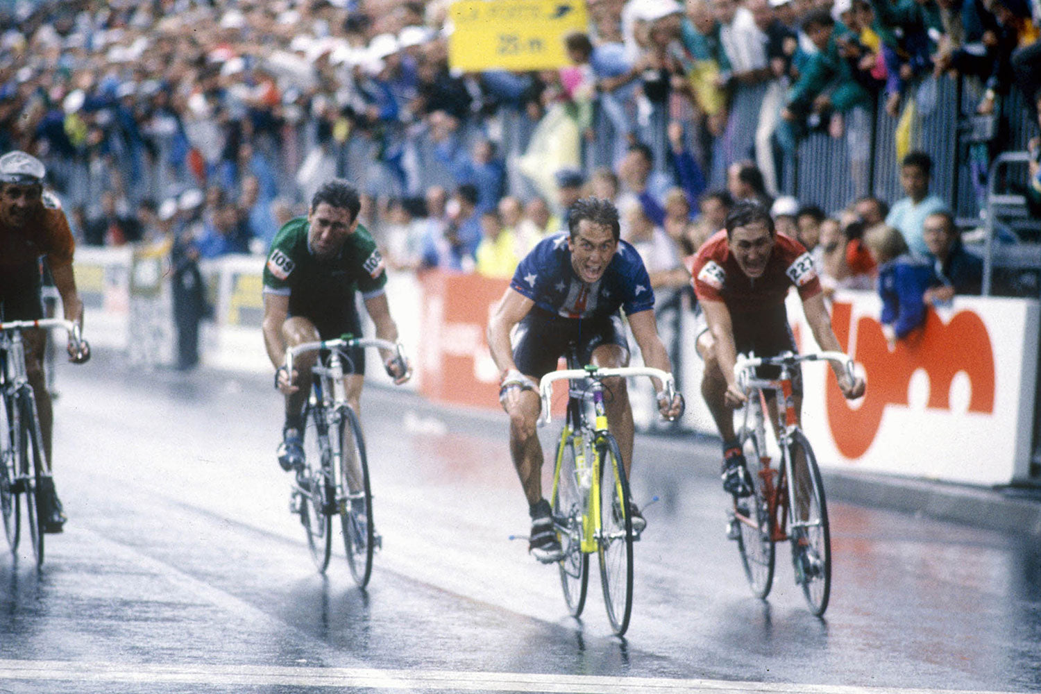 See the incredible delight captured by A. Landrain in Greg Lemond's face having sprinted to victory at the 1989 UCI Road World Championships in Chambéry, France. Photo Credit: Press Sports / L'Equipe.