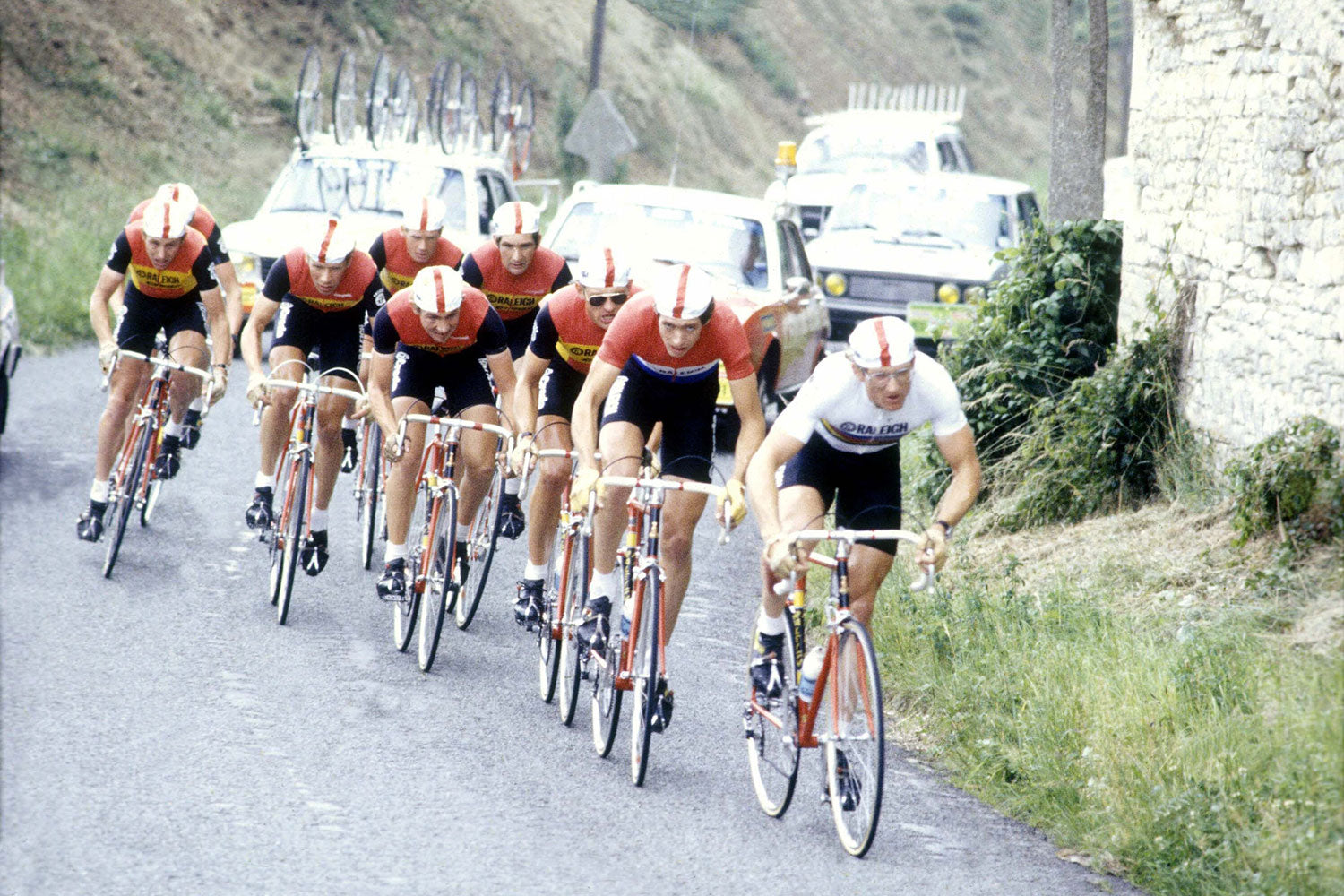 <p>The Raleigh-TI team riding their speciality team time trial at the 1980 Tour de France. The riders are Jan Raas, Johan Van de Velde, Gerrit Knetemann, Paul Wellens, Cees Priem, Bert Oosterbosch, Henk Lubberding and Joop Zoetemelk.