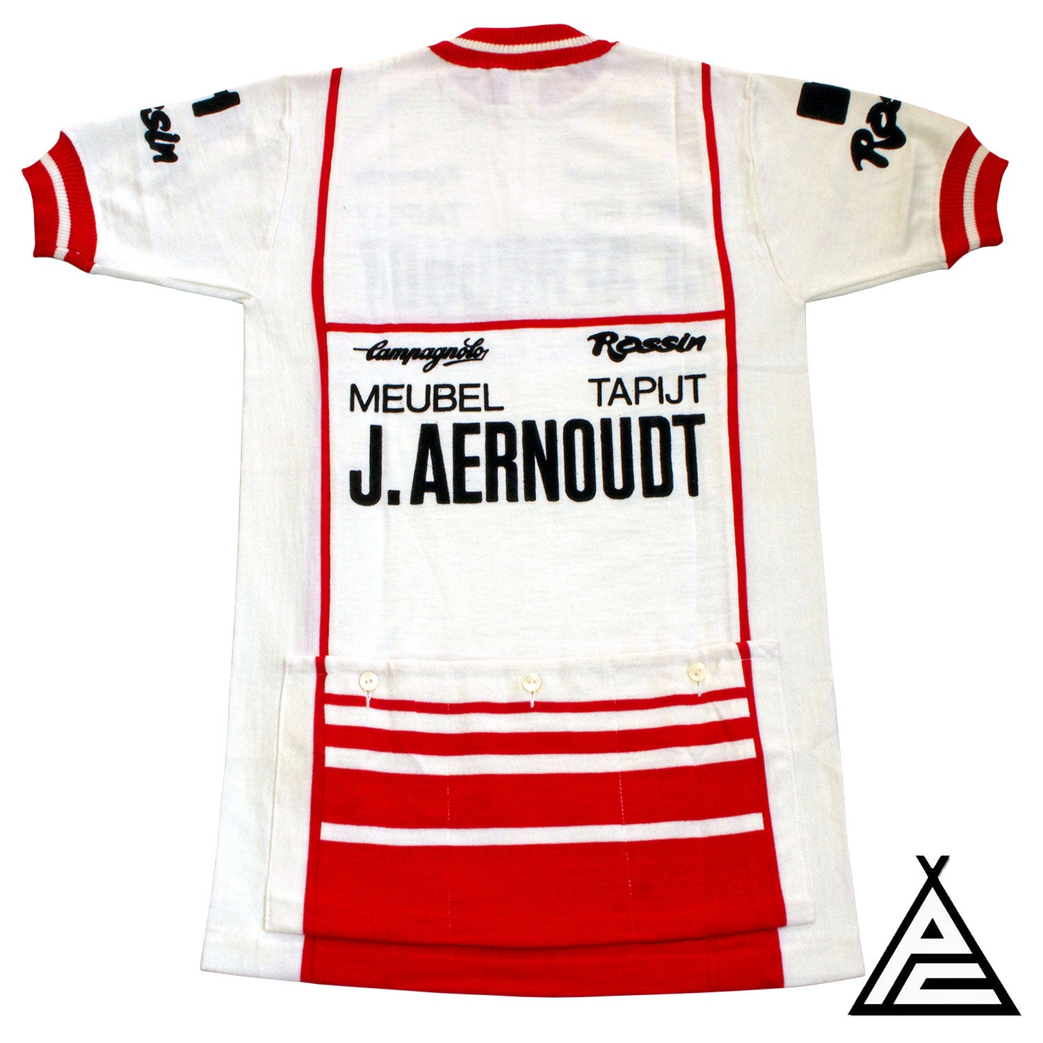 The back of the J. Aernoudt Meubelen Rossin Campagnolo 1983 Wool Team Jersey