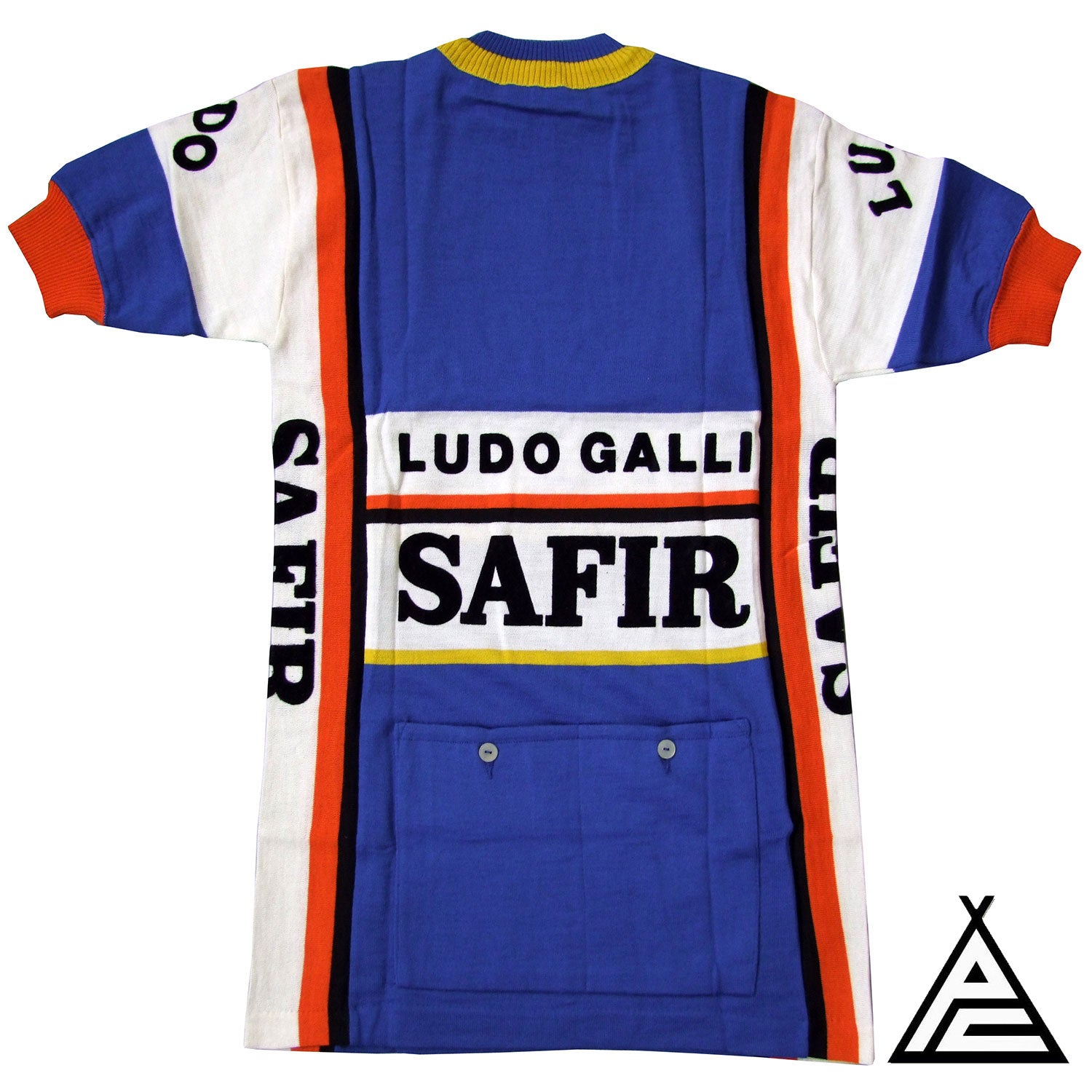 The back of the 1981 Safir Ludo Galli team jersey