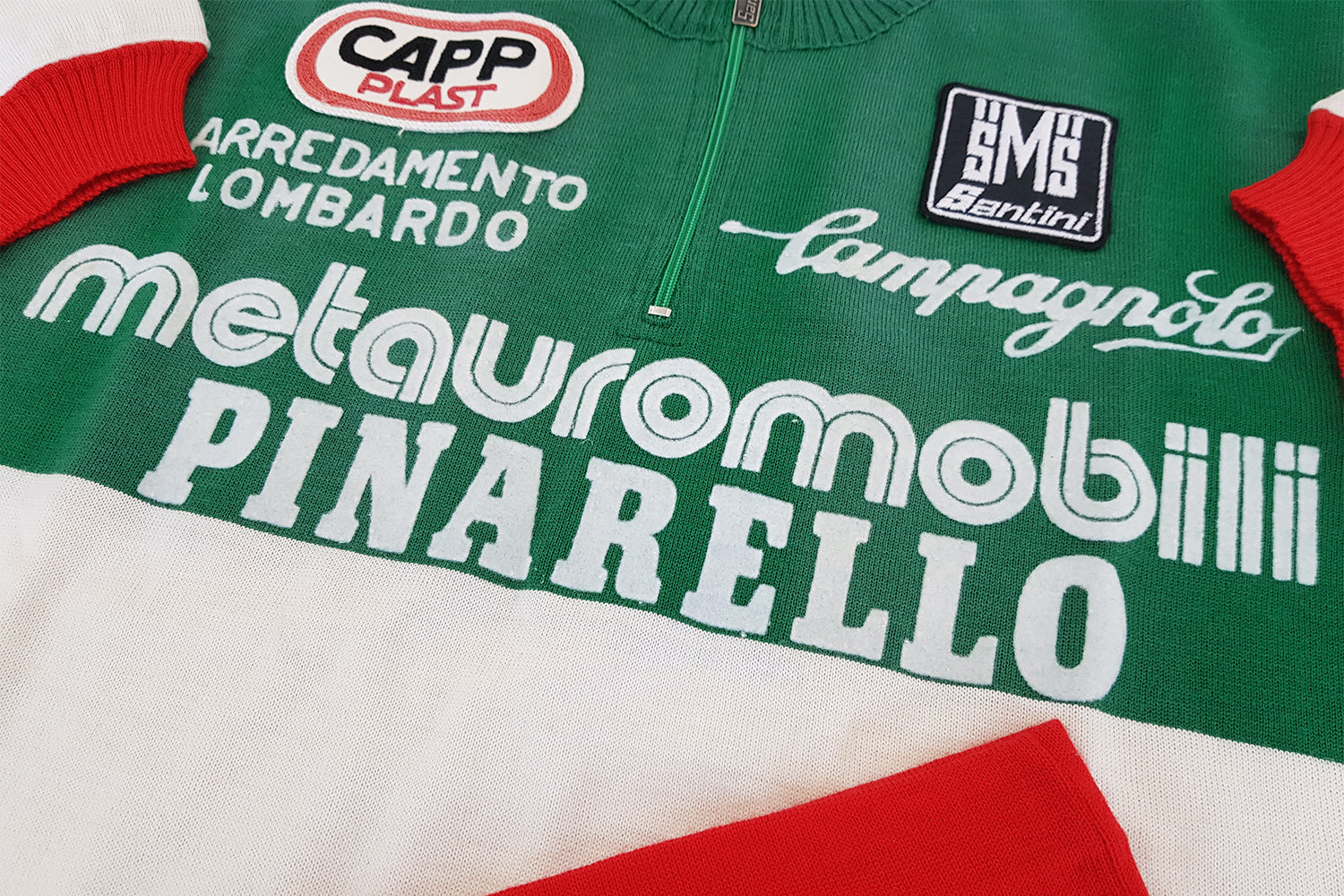 Metauro Mobili/Pinarello/Italian National Champion Wool Jersey by Santini.