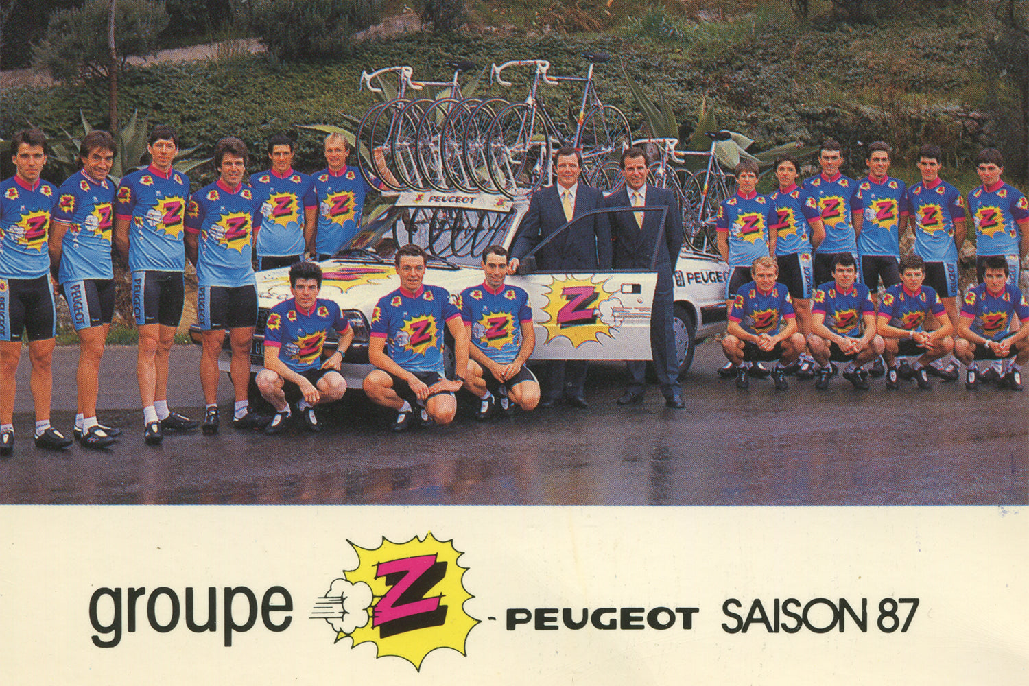 Vêtements Z-Peugeot Cycling Team postcard from 1987.