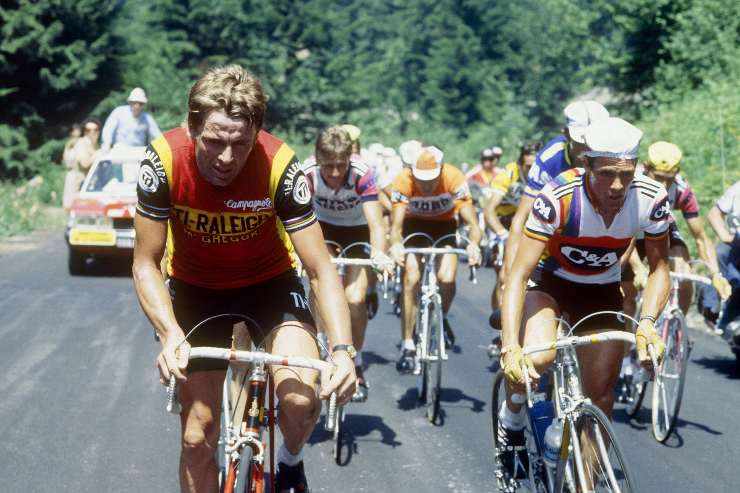 Hennie Kuiper and Lucien Van Impe riding in the 1978 Tour de France\nPhoto Credits: Offside / L'Equipe