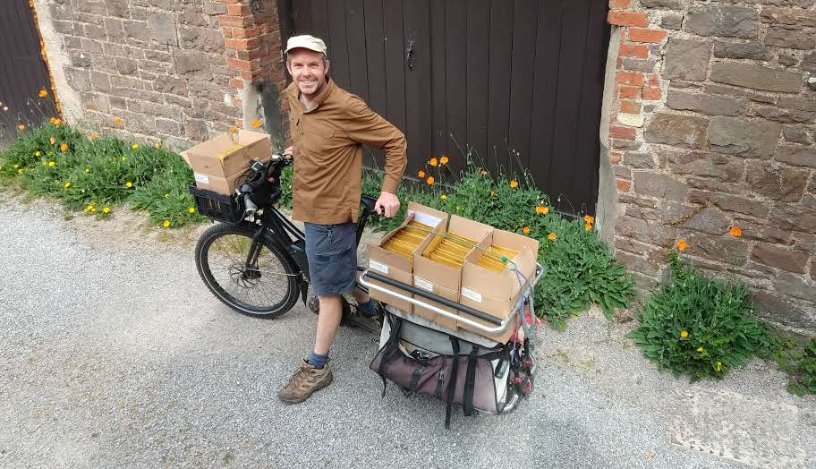 Just like us, Jack is keen to use his bike where possible for sending his Lost Lane book orders.