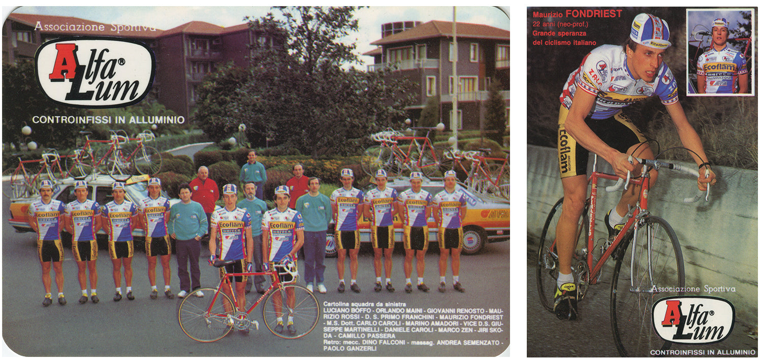 The 1987 line up of the Ecoflam Alfa Lum pro team including new-pro Maurizio Fondriest.