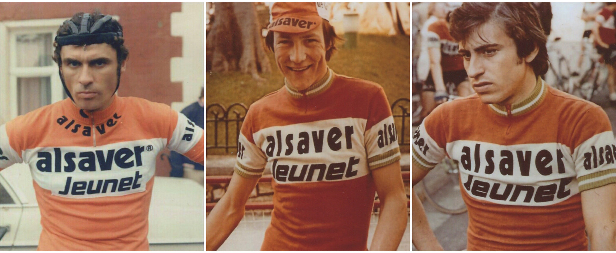 Alsaver Jeunet 1975 Cycling team members: Y. Benaets, M. Laurent and A. Gutierrez.